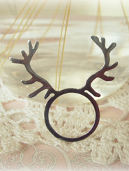 Stainless Steel Deer Antler Ring