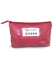 Leather Makeup Bag in Fushia