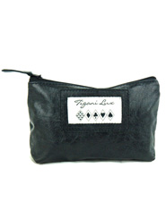 Leather Makeup Bag in Black