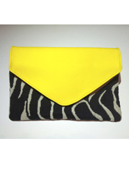 Bright Yellow Leather and Zebra Print Clutch