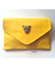 Handmade Yellow Leather Clutch with Gold Leopard Brooch