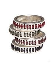 Banjara Jewellery - Tribal Pattern Stitched Ring (Sterling Silver)