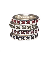 Banjara Jewellery - Tribal Pattern Cross Ring (Sterling Silver)