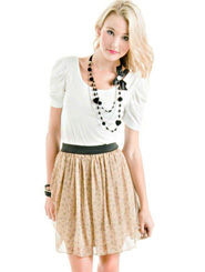 Geometric Skirt - Beige