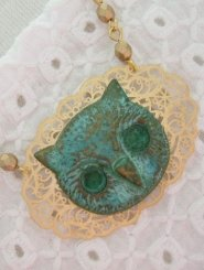 Gold Filigree with Patina Owl Necklace