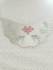 Handcut Silver Cross Stitch Necklace with Birds