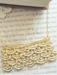 Gold Lace Strip Necklace