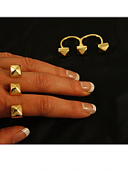 Chosen By - Gold Pyramid Stud 2 Finger Ring