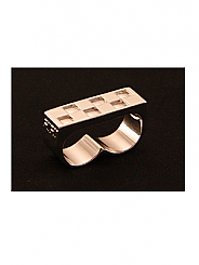 ATAT - Silver Checkered 2 Finger Ring