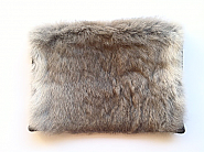Grey Rabbit Fur and Black Leather Envelope Clutch
