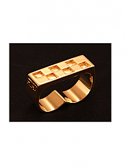 ATAT - Gold Checkered 2 Finger Ring