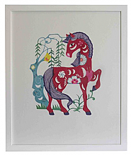 37.5cm x 45cm Show Pony Framed PaperCut Artwork hand dyed and cut