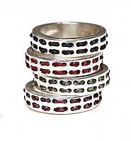 Banjara Jewellery - Tribal Pattern Dash Ring (Sterling Silver)