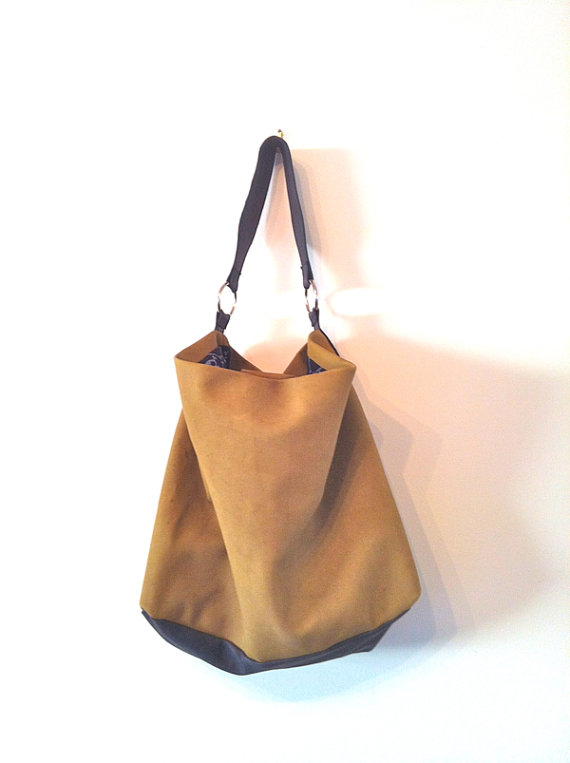 95b8df7e4233 One-Off-Handmade-Khaki-and-Black-Kangaroo-Leather-Slouch-Handbag