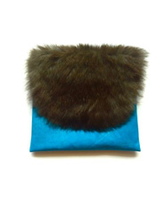 Black Rabbit Fur and Bright Blue Kangaroo Leather Envelope Clutch