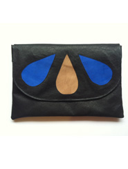 Black Leather Clutch with Blue and Beige Leather Drops