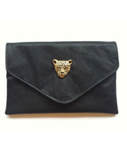 Handmade Black Leather Clutch with Gold Leopard Brooch