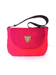 One-Off Handmade Two Tone Pink and Black Kangaroo Leather Handbag with Gold Leopard