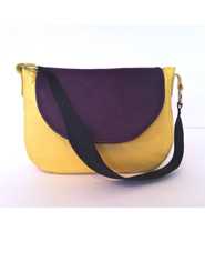Handmade Yellow, Grape and Textured Black Kangaroo Leather Handbag