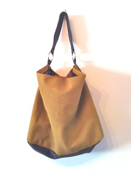 One-Off Handmade Khaki and Black Kangaroo Leather Slouch Handbag