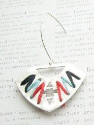 Silver Handcut Aztec Earrings