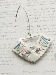 Silver Handcut Cross Stitch Earrings