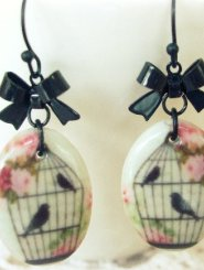 Porcelain Birdcage Earrings with Bow