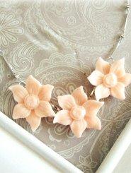 Triple Coral Floral Necklace Peach
