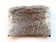 Grey Rabbit Fur and Black Leather Envelope Clutch
