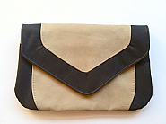 Handmade Black and Beige Kangaroo Leather Clutch